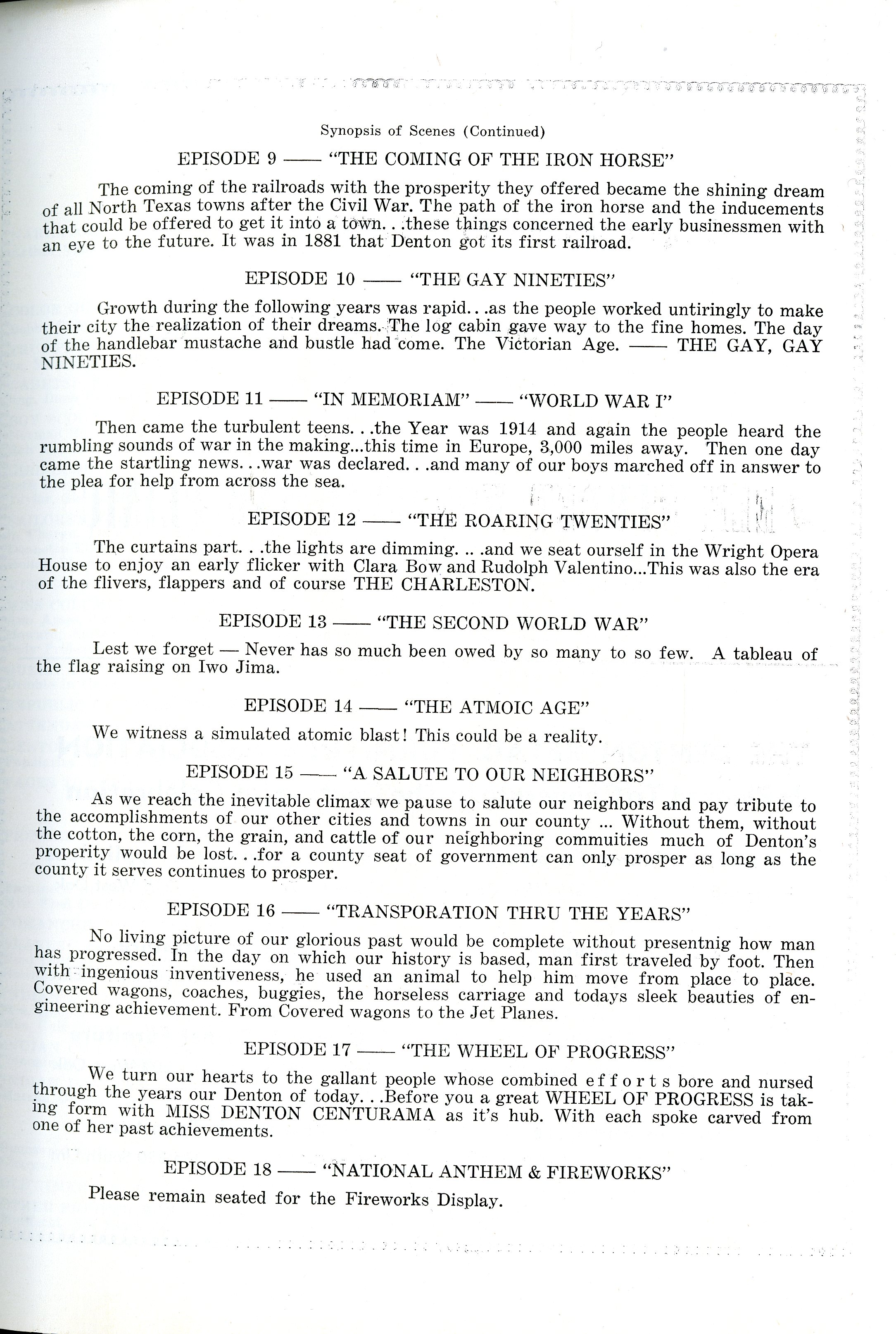 Denton Centurama Program Second Page